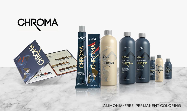 Lakme Chroma. Ammonia-free, permanent coloring